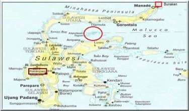 Mapa de Sulawesi amb les Togean encerclades